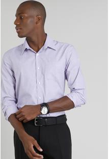 Camisa Masculina Comfort Maquinetada Com Bolso Manga Longa Lilás