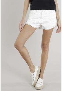 Short Feminino Boy Destroyed Com Barra Desfiada Off White