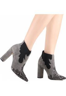 Bota Ankle Boot Zariff Snake Chelsea Cinza