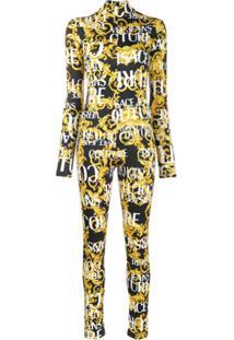 Versace Jeans Couture Logo Print Jumpsuit - Amarelo