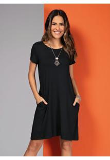 Vestido Com Bolsos Preto Com Mangas Curtas