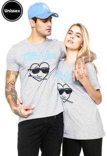 Camiseta Unissex Blind Love Manga Curta Bengal Hearts Cinza