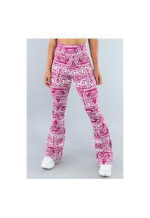 Calça Feminina Mvb Modas Flare Pantalona Suplex Espelhado