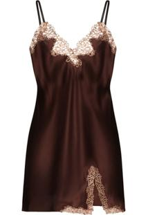 La Perla Camisola De Seda Com Detalhe De Macramê - Marrom