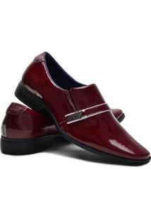 Sapato Social Ruggero Elástico Conforto Masculino - Masculino-Vermelho Escuro