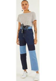Jeans Reto Com Recortes - Azul Escuro & Azul Claropop Up