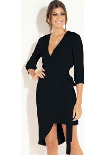 Vestido Curto Preto Com Sobreposição Removível