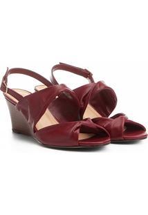 Sandália Anabela Couro Shoestock Drapeado Feminina - Feminino-Vinho