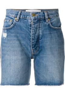 Victoria Victoria Beckham Side Stripe Denim Shorts - Azul