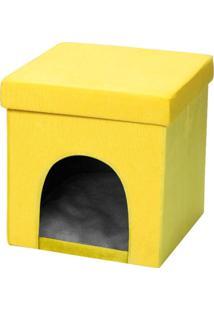 Puff Pet Baú Casinha Desmontável Dobrável Suede Amarelo 38X38 - Lyam Decor