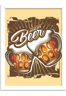 Quadro Decorativo Retrô Premium Quality Beer Branco - Médio