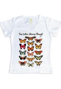 Camiseta Feminina Gola V Cool Tees Borboletas True Collors - Feminino-Branco