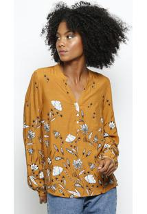 Camisa Floral- Amarela & Pretahering