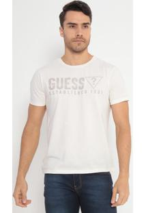 "Camiseta ""Guess® Established 1981""- Off White & Cinza"