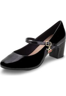 Sapato Feminino Salto Baixo Villa Rosa - 886188200 Verniz/Preto 34