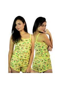 Short Doll Estampado Fec Fashion Baby Doll 100% Algodão Amarelo