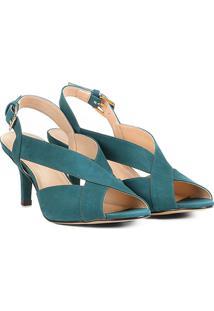 Sandália Couro Shoestock Salto Fino Feminina - Feminino-Azul Petróleo