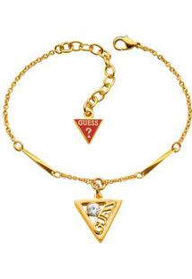 Pulseira Com Pingente De Triangulo- Dourada- 39Cm