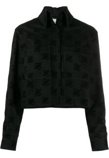 Fendi Logo Print Back-Bow Denim Jacket - Preto