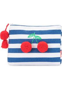 Sunuva Striped Pompom-Cherry Clutch - Azul