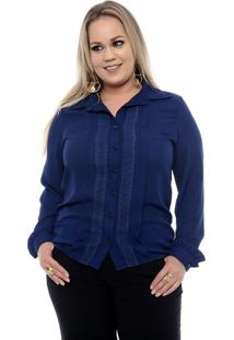 Camisa Feminina Azul Plus Size
