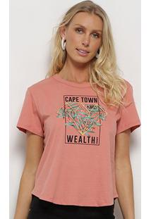 Camiseta Sommer Cape Town Wealth Feminina - Feminino-Rosa Bebê