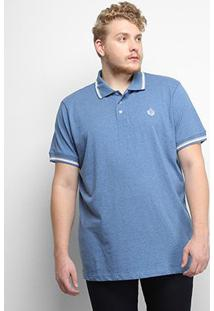 Camisa Polo Gajang Euro Constance Plus Size Masculina - Masculino-Azul