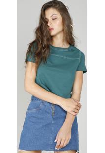 Blusa Feminina Básica Cropped Com Pesponto Manga Curta Verde Escuro