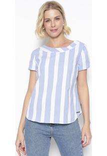 Blusa Listrada Com Botões- Azul Claro & Off White- Vvip Reserva
