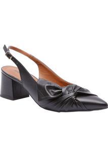 Sapato Chanel Em Couro Com Laço Frontal- Preto- Saltle Rossi