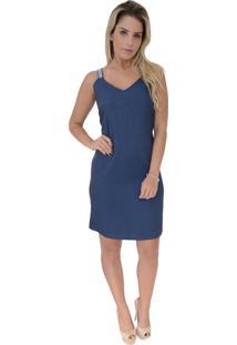 Vestido Mamorena Chambrey Com Alça Pedraria Azul Jeans