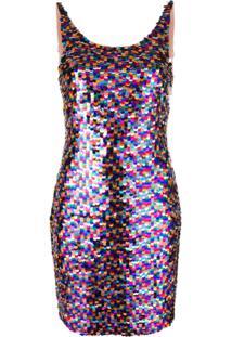 Moschino Vestido Com Paetês - Rosa