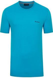 Camiseta Pierre Cardin Malha Básica Azul Turquesa