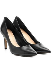 Scarpin Couro Shoestock Salto Alto Básico - Feminino-Preto