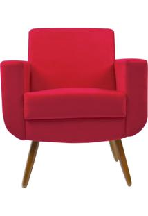 Poltrona Decorativa Kasa Sofá Cristal Suede Vermelho