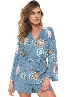 e4fcf4c01 Kimono Fashion Azul Estampado feminino