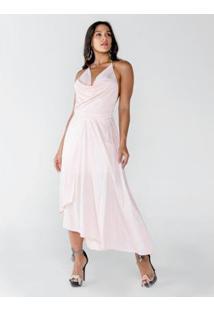 Vestido Longo Frente Única Com Alça De Corrente - Feminino-Rosa Claro