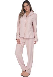 Pijama Aberto Fleece Liso Glace - Lua Luá - Rosa