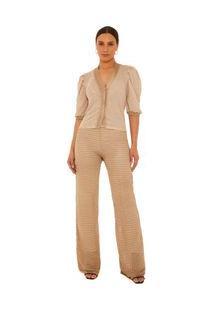 Calça Maria.Valentina Reta Cós Alto Texturizada Branco/Dourado