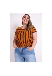 Blusa Listrada Com Recorte Plus Size Caramelo Blusa Listrada Com Recorte Plus Size Caramelo Gg Kaue Plus Size