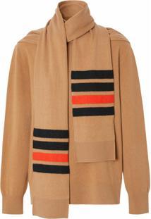 Burberry Suéter Com Detalhe De Cachecol E Listras - Neutro