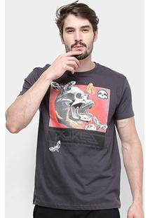 Camiseta Silk Skull Moth Rukes Masculina - Masculino-Mescla Escuro