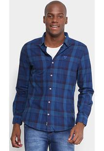 Camisa Xadrez Opera Rock Com Bordado Masculina - Masculino-Azul