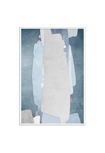 Quadro 60X40Cm Abstrato Textura Kolere Moldura Branca Com Vidro