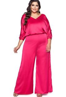 Macacão Almaria Plus Size Pianeta Estampada Rosa