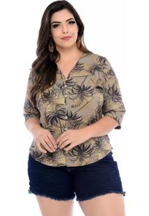 Camisa Prelúdio Plus Size Fluid Verde Amazon-54