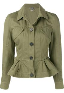 Alexander Mcqueen Ruffled Fitted Jacket - Verde