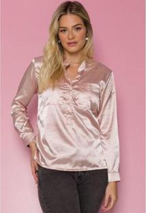 Camisa Sislla Cetim Lily Feminina - Feminino-Rosa