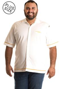 Camisa Konciny Manga Curta Plus Size Branca/Laranja