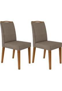 Kit 2 Cadeiras Estofadas Para Sala De Jantar Bella N04 Vanilla/Ipê - M